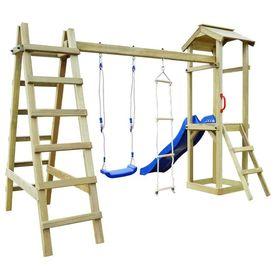 Set joacă din lemn cu tobogan, scări, leagăn 286x237x218 cm FSC