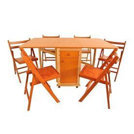 Set masa plianta cu usa si sertar cires cu 6 scaune