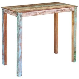 Set mobilier de bar, 5 piese, lemn reciclat și piele naturală