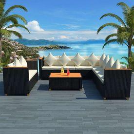 Set mobilier de grădină 31 piese, poliratan, blat WPC, negru