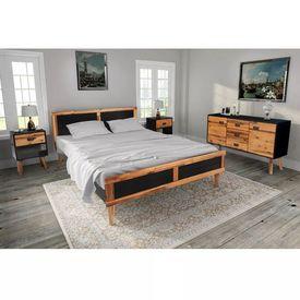 Set mobilier dormitor, 4 piese, lemn masiv acacia, 140x200 cm
