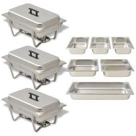 Set vase încălzire mâncare, 3 piese, oțel inoxidabil