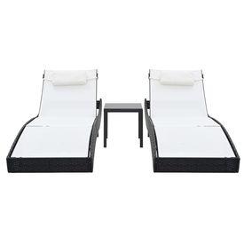 Șezlonguri de plajă cu masă 2 buc. negru poliratan & textilenă