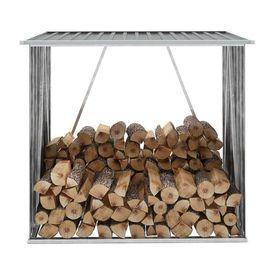 Șopron depozitare lemne, oțel galvanizat, 163x83x154 cm, gri
