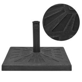 Suport umbrelă de soare, rășină, pătrat, negru, 19 kg