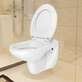 Toaletă suspendată cu închidere silențioasă, ceramică, alb