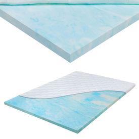 Topper gel spuma - protectie saltea HTDT-6892 cu fermoar, 140x 200 x 6.5cm, gel spuma/poliester- microfibra, alb/alb/albastru