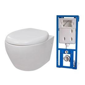 Vas toaletă cu mecanism silențios și rezervor, Alb
