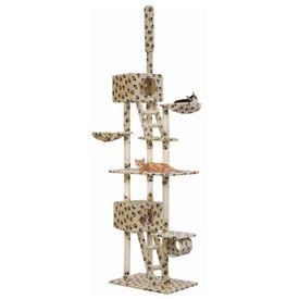 vidaXL Ansamblu pisici, stâlpi sisal, 230-260 cm Imprimeu lăbuțe Bej