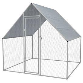vidaXL Coteț păsări de exterior, oțel galvanizat 2x2x2 m