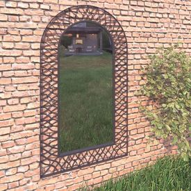 vidaXL Oglindă de perete de grădină, negru, 60 x 110 cm, arcuită