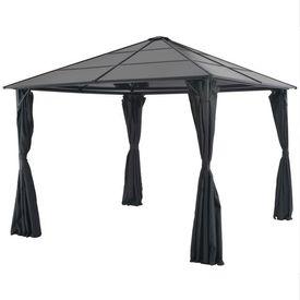 vidaXL Pavilion cu perdea, negru, 3 x 3 m, aluminiu