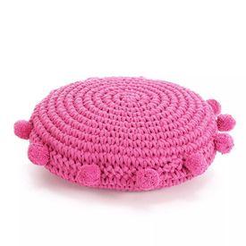 vidaXL Pernă pardoseală rotundă tricotată, bumbac 45 cm, roz