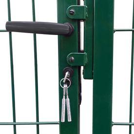 vidaXL Poartă gard de grădină cu stâlpi, verde, 350 x 100 cm, oțel