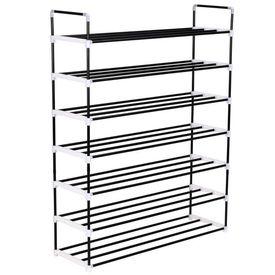 vidaXL Raft încălțăminte cu 7 etajere din metal și plastic Negru