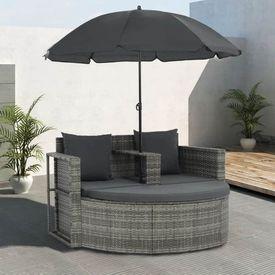 vidaXL Set canapea 2 locuri de exterior, cu umbrelă, poliratan, gri