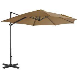 vidaXL Umbrelă suspendată cu stâlp din aluminiu, gri taupe, 300 cm