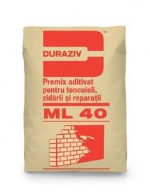Premix aditivat pentru tencuieli, zidării și reparații DURAZIV ML 40 - 25 kg