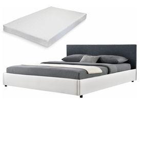 Corium® [my.bed] Pat frantuzesc elegant - cu saltea cu spuma recel - 140x200cm (Partea capului: tesatura negru Rama: imitatie de piele alb) - cu rama pat