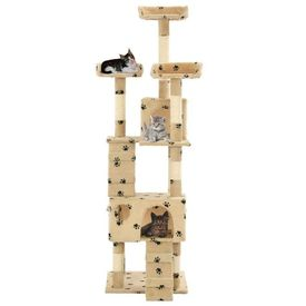 Ansamblu pisici cu funie sisal, 170 cm, imprimeu lăbuțe, bej