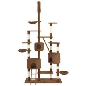 Ansamblu pisici cu stâlpi din funie de sisal, maro, 255 cm