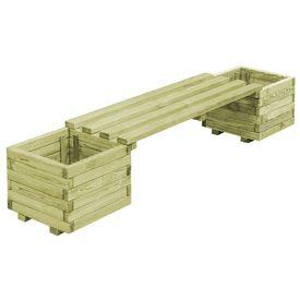 Bancă de grădină cu jardiniere, lemn de pin tratat FSC