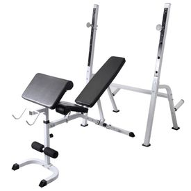 Bancă fitness cu raft greutăți, set haltere/gantere, 120 kg