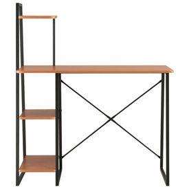 Birou cu rafturi, negru și maro, 102 x 50 x 117 cm