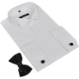 Cămașă smoching pentru bărbați, cu butoni și papion, mărime XXL, alb