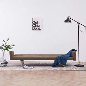 Canapea extensibilă cu brațe, maro, poliester