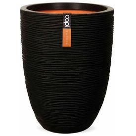 """Capi Vas de plante """"Nature Rib"""", negru, 36 x 47 cm, adânc PKBLR782"""