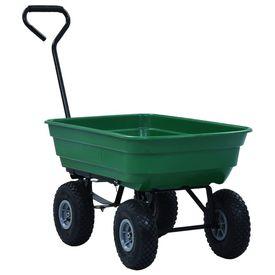 Cărucior manual de grădină basculabil, verde, 300 kg, 75 L