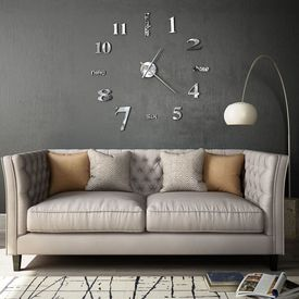 Ceas de perete 3D, argintiu, 100 cm, XXL, design modern