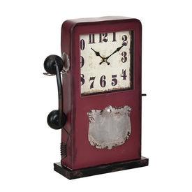 Ceas design stativ - Model 30 Cabina telefonica, metal/sticla/MDF, 33 x 9 x 40,5 cm, multicolor