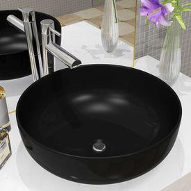 Chiuvetă din ceramică, rotundă, 41,5 x 13,5 cm, negru