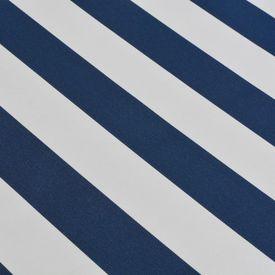 Copertină pliabilă cu acționare manuală, 450 cm, albastru/alb