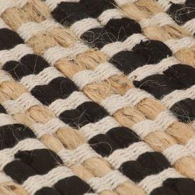 Covor din iută lucrat manual natural și negru 120x180cm textil