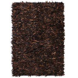 Covor fire lungi, piele naturală, 160x230 cm, Maro