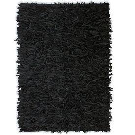 Covor fire lungi, piele naturală, 190x280 cm, Negru