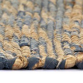 Covor manual, albastru și natural, 80 x 160 cm, iută