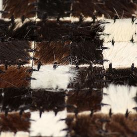 Covor piele naturală, mozaic, 160x230 cm, pătrate, negru/alb