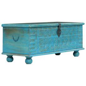 Cufăr din lemn masiv de mango, 100 x 40 x 41 cm, albastru