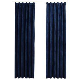 Draperii opace cu cârlige, 2 buc, albastru, 140x175 cm, catifea