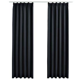 Draperii opace cu cârlige, 2 buc., negru, 140 x 175 cm