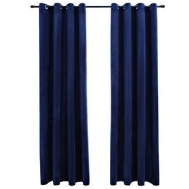 Draperii opace cu inele, 2 buc., albastru, 140x245 cm, catifea