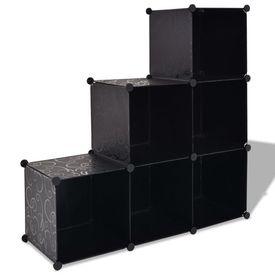 Dulap de depozitare tip cub, cu 6 compartimente, negru