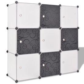 Dulap de depozitare tip cub, cu 9 compartimente, negru și alb