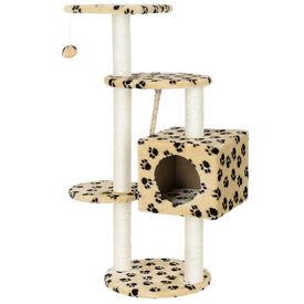 [en.casa]®.Mobila pisici - Lemn pentru ascutire gheare pisici crem cu model labe de pisica de culoare inchisa