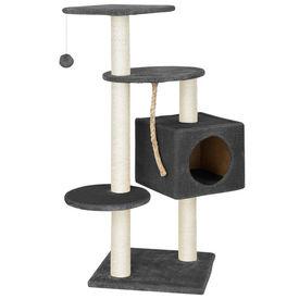 [en.casa]® Mobila pisici - Sisal pisici gri cu culcus