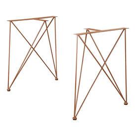 [en.casa]® Set 2 bucati picioare masa AATF-9503, 62 x 22 x 72 cm, otel sinterizat, aramiu pentru mobilier Fa singur